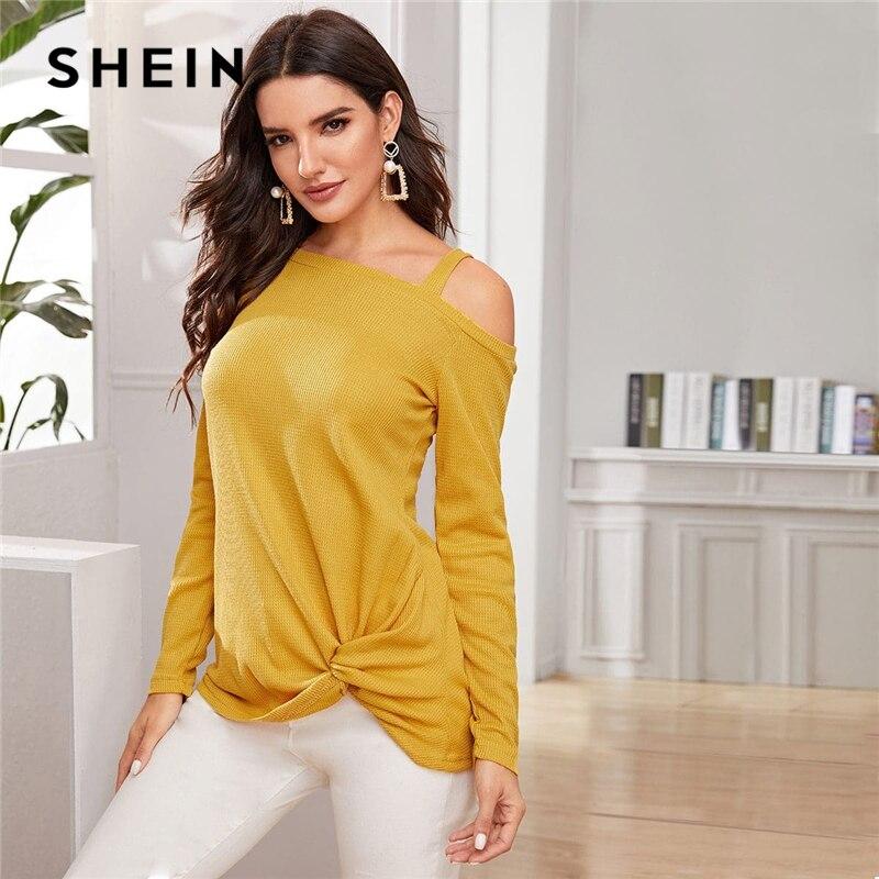 SHEIN Yellow Asymmetrical Neck Twist Hem Casual Sweater Women Autumn Winter Streetwear Long Sleeve Solid Ladies Casual Sweaters