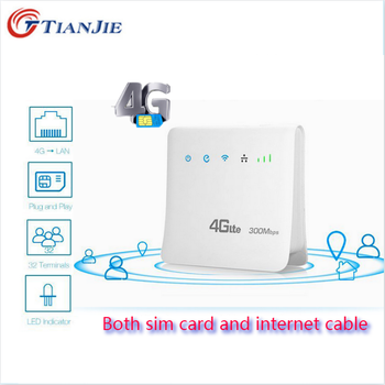 цена на TIANJIE Indoor/Outdoor 4G LTE Unlocked CPE Wifi Router FDD/TDD SIM Card Mobile Router Hotspot RJ45 Cable Wireless Modem Dongle