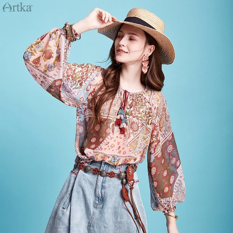ARTKA 2020 Spring Summer New Women's Blouse Vintage Indie Folk Print Blouse Lantern Sleeve V-Neck Tassel Chiffon Shirt SA20302C