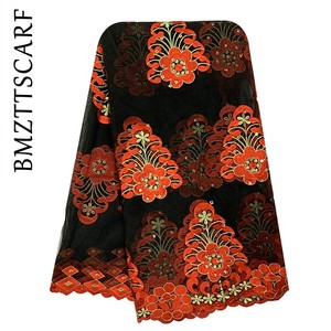 Image 2 - New African Women Scarf Good Quality Plain Embroidery with Stones Soft Net Scarf for Headscarf Wraps BM955