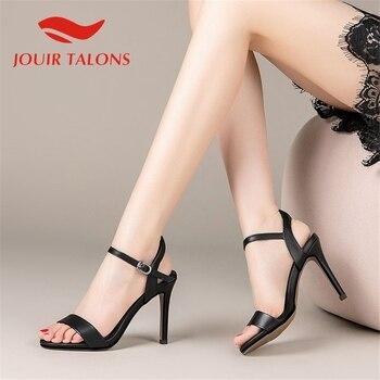 JOUIR TALONS 2020 Dropship Genuine Leather Women Sandals Peep Toe Thin Heels Metal Decoration Pumps Summer Casual Woman Shoes