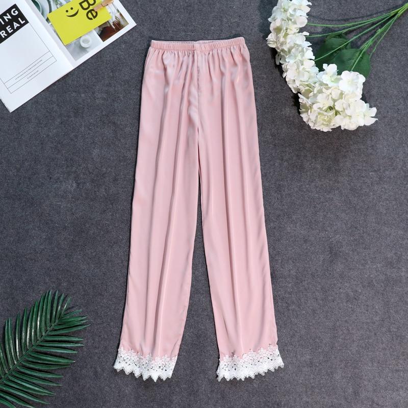 Осенние женские атласные пижамные штаны Свободные повседневные пижамы одежда для сна штаны для отдыха домашняя одежда - Цвет: pink C