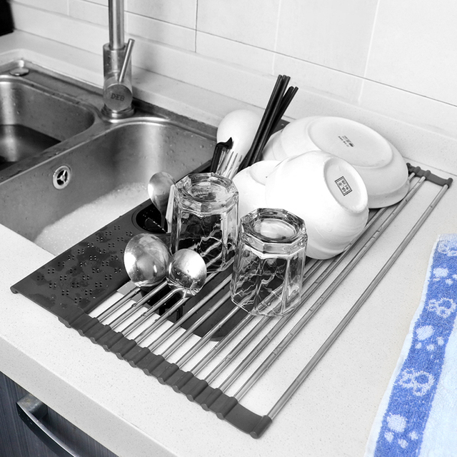 Multifunction Dish Drying Rack Sink Drain Rack Shelf Basket Bowl Sponge Holder Dish Drainer Dryer Tray Kitchen Storage Organizer 5