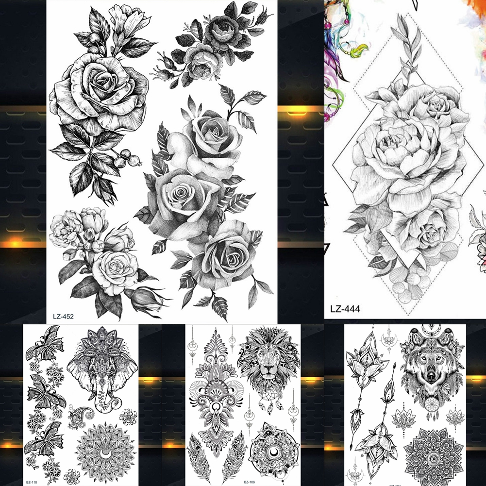 REJASKI RoseGanesha Flower Black Henna Temporary Tattoos For Women Sticker Mehndi Fake Tattoo Mamdala Rattan Art Custom Tatoos