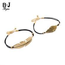 Handmade Adjustable Women's Rope Bracelets Black Leather Retro Golden Zinc Alloy Leaf Charm Bracelet Lady Custom Wholesale BC359 недорого