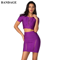 BANDAGE 2020 Summer Women Bodycon Bandage Sets Dress Vestidos 2 Two pieces Set Top and Skirts Hollow Out Celebrity Party Dress