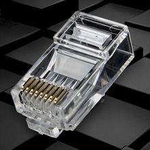цена на 25/100Pcs Gold Plated RJ45 Net Network Cables Modular Plug Cat5 CAT5e Connector 8P8C Modular Rj45 Plug Terminals