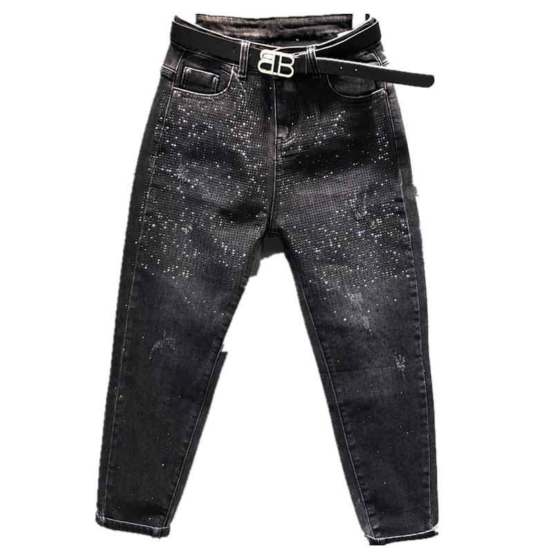Jeans Women Harem Beading Diamond Boyfriend Jeans For Women Korean Spring Autumn Black Jean