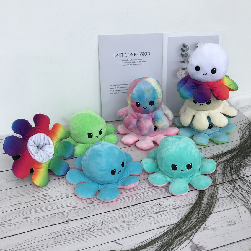 Reversible Flip Octopus Toy mood Octopus Plush Plushie Octopus Plush Doll Stuffed Animals Pillow For Children Gift baby Toys