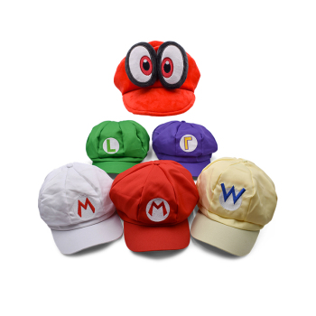 2Style 5 Colours Anime Super Mario Hat Cap Odyssey Mario Luigi Wario Waluigi Bros Cosplay Baseball Cartoon Hats Plush Toys cosplay adults and kids super mario bros cosplay dance costume set children halloween party mario