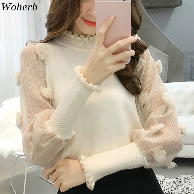 Woherb Pull Femme Half Turtleneck Long Puff Sleeve Sweater Women Patchwork See Through 3d Flower Pullovers Korean New 91223