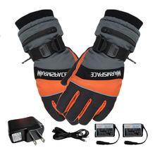 1 çift kış USB el ısıtıcı elektrikli termal eldiven su geçirmez ısıtmalı eldiven akülü motosiklet kayak eldivenleri