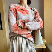 Pink Sweater Knit Sweater Women Leonard Jumper Sweater Women Chic O Neck Jumper Multicoloured Floral Print Pullovers(China)