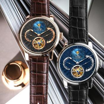 Lobinniローマダイヤル腕時計メンズ 2019 レロジオmasculino自動ギア機械式ブランド鋼オロロジオ革コスト腕時計