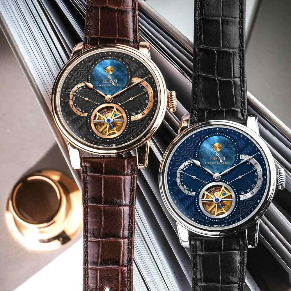 Lobinni Rome Wijzerplaat Horloges Heren 2019 Relogio Masculino Automatische Versnelling Mechanische Merken Stalen Orologio Lederen Kosten Polshorloge