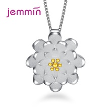 лучшая цена Gold Silver Flower Lotus Pendant Necklaces Korean Trendy Charm Chain Necklace Women Jewelry Collar Friendship Gift