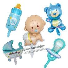 1 סט מיני בני בנות תינוק מקלחת קישוטי רדיד בלוני עגלת אספקת מסיבת יום הולדת globos עוגת צילינדר קישוטים