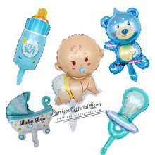 1set mini Boys Girls Baby Shower Decorations Foil Balloons Stroller Birthday Party Supplies globos cake topper decorations