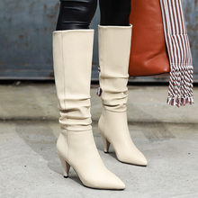 Leather Pointed Toe pleated stiletto warm boots Cowboy Keep Warm Solid color fashion Long Boots winter Long boots women 2019(China)