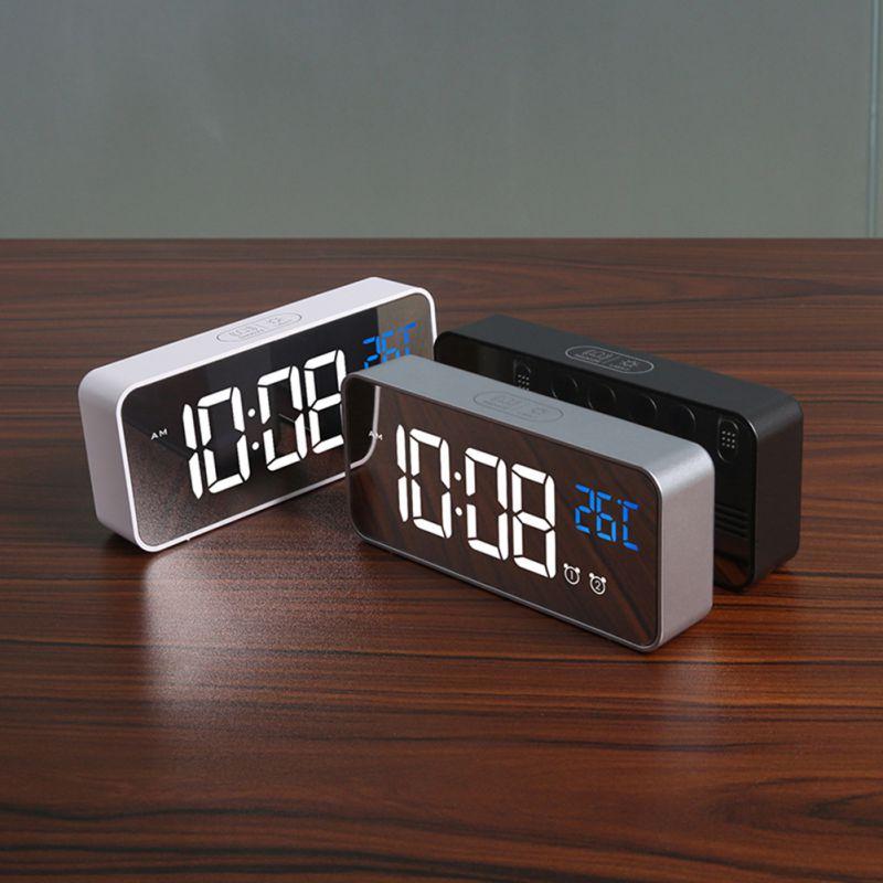Réveil USB LED durables réveils numériques contrôle vocal Intelligent affichage de la température horloges électroniques décoration de la maison - 4