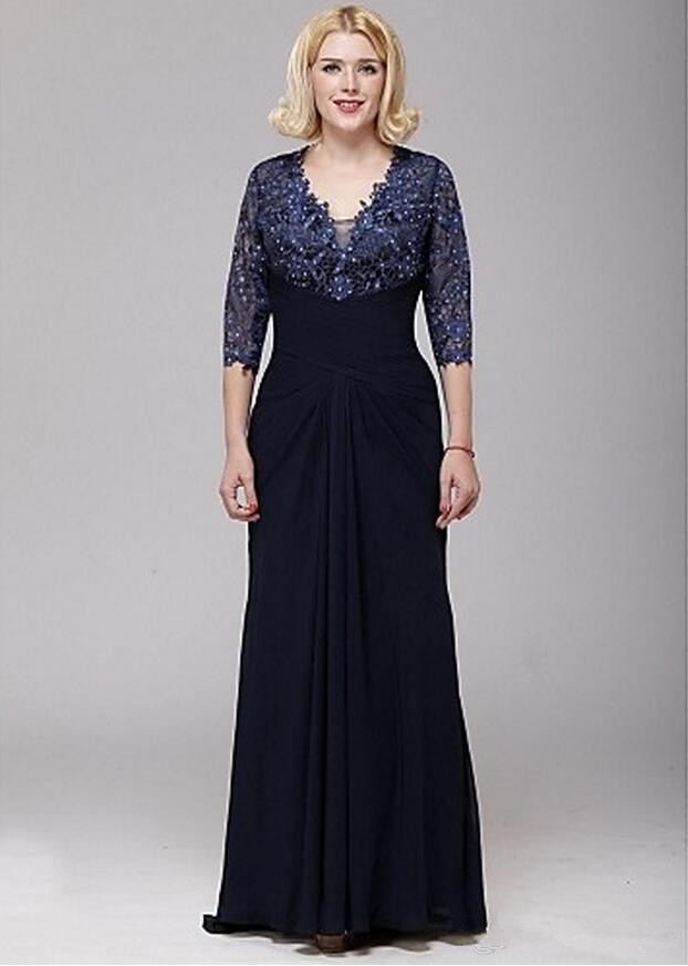 3/4 Sleeves 2019 Mother Of The Bride Dresses A-line V-neck Chiffon Lace Beaded Plus Size Long Groom Mother Dresses For Weddings