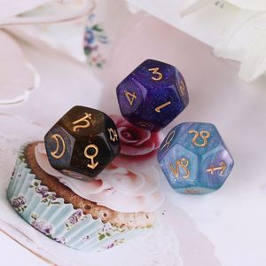 3pcs/set Dichromatic D12 Polyhedral Astrology Dices for Constellation Divination Q84C