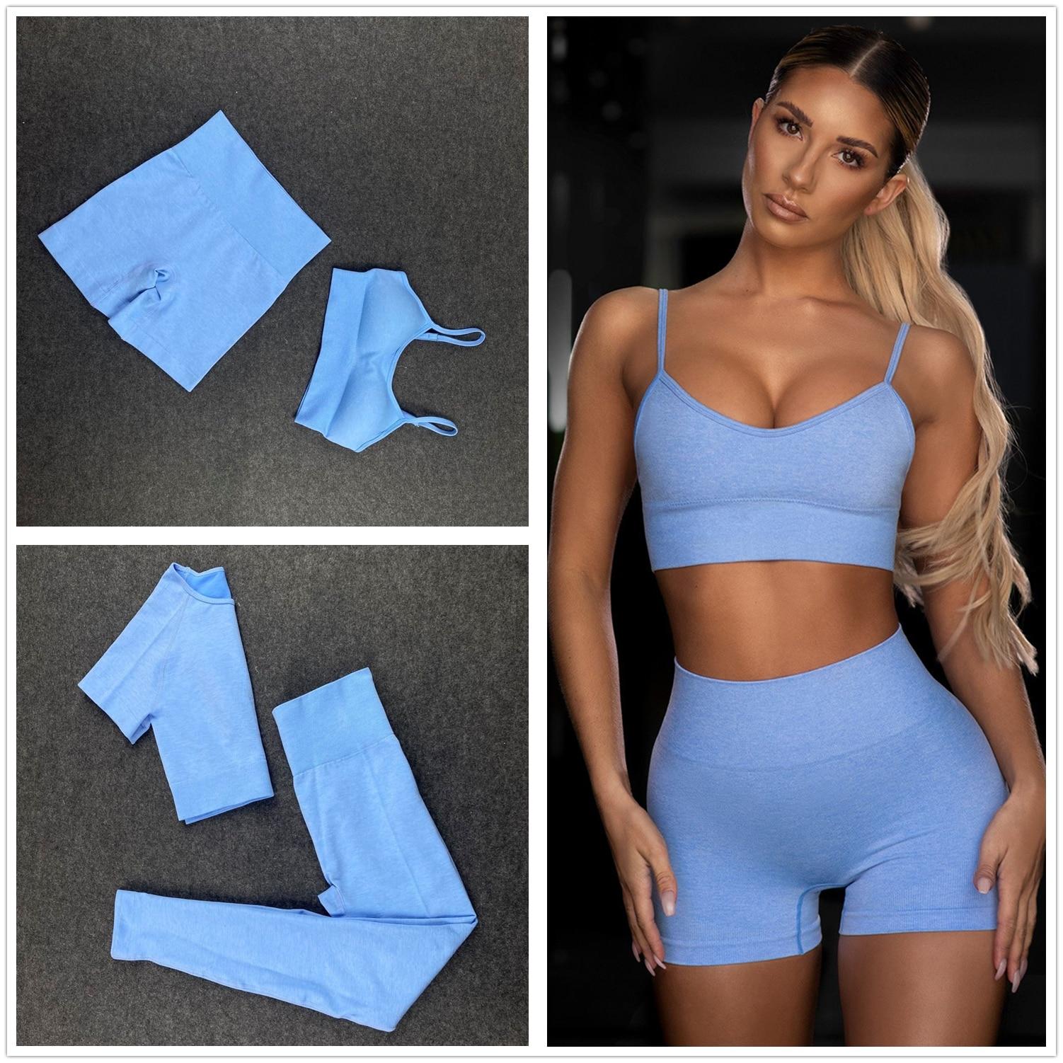 Seamless Women Yoga Set Workout Shirts Sport Pants Bra Gym Clothing Short Crop Top High Waist Running Leggings Sports Set 2005