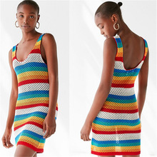 2019 Sexy Open Back Multicolored Striped Beach Dress Crochet Tunic Women Beachwear Sleeveless Stretch Vest Mini Strap Dress open shoulder mini vertical striped dress