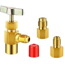 3 шт. R134A дозатор хладагента резьбовой клапан открывалка для бутылок с адаптером для бака для 1/4 дюймового раструбного штекера и 1/2 дюймового штекера