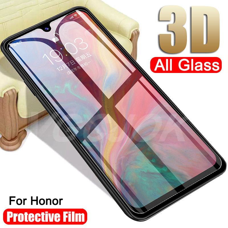 3D Tempered Glass On The For Huawei Honor 9 10 20 Lite 9X V10 V20 8X 8A 8C 8S Screen Protector Safety Protective Glass Film Case