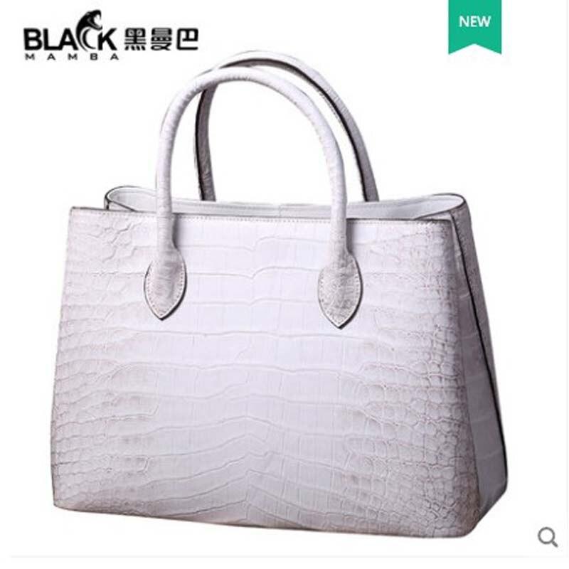 ouluoer Crocodile skin lady handbag leather lady bag single shoulder bag large capacity  white