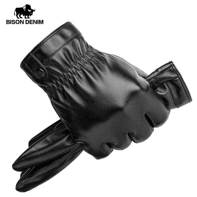 BISON DENIM Men's PU Leather Winter Warm Gloves Black Touch Screen Outdoor Gloves For Men Fashion Brand Winter Warm Gloves S022