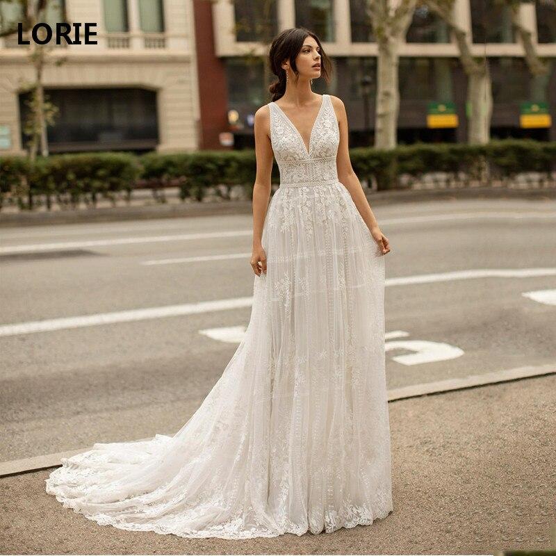 LORIE Bohemian A Line Wedding Dresses Appliqued Deep V Neck Princess Wedding Gowns Vestidos De Novia