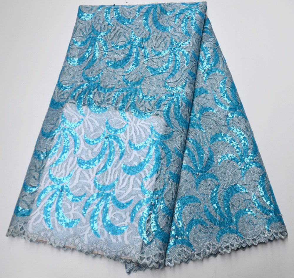 High quality sequence Swiss organza African french net embroidered glitters beaded sequins tulle mesh lace fabric blue for dress