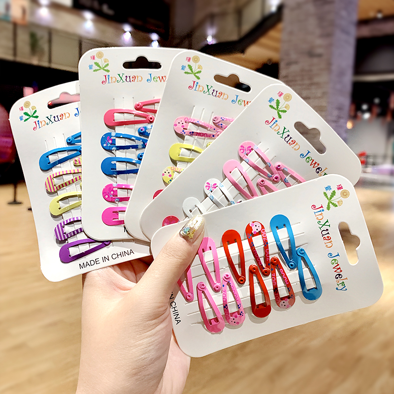 10pcs/pack Girls Cute Colorful Print Hairpins Children Sweet Hair Clips Barrettes Headband BB Clip Kids Fashion Hair Accessories