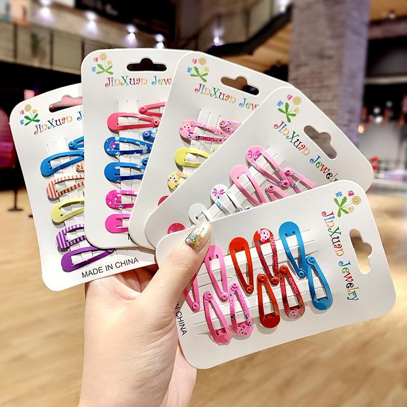 10pcs/pack Girls Cute Colorful Print Hairpins Children Sweet Hair Clips Barrettes Headband BB Clip Kids Fashion Hair Accessories