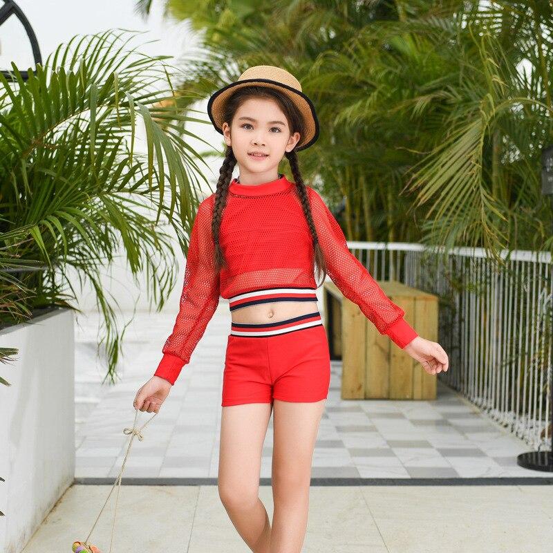 2019 New Style KID'S Swimwear Fashion CHILDREN'S Bikini Sun-resistant Women's Big Kid Two-piece Swimsuits Sporty