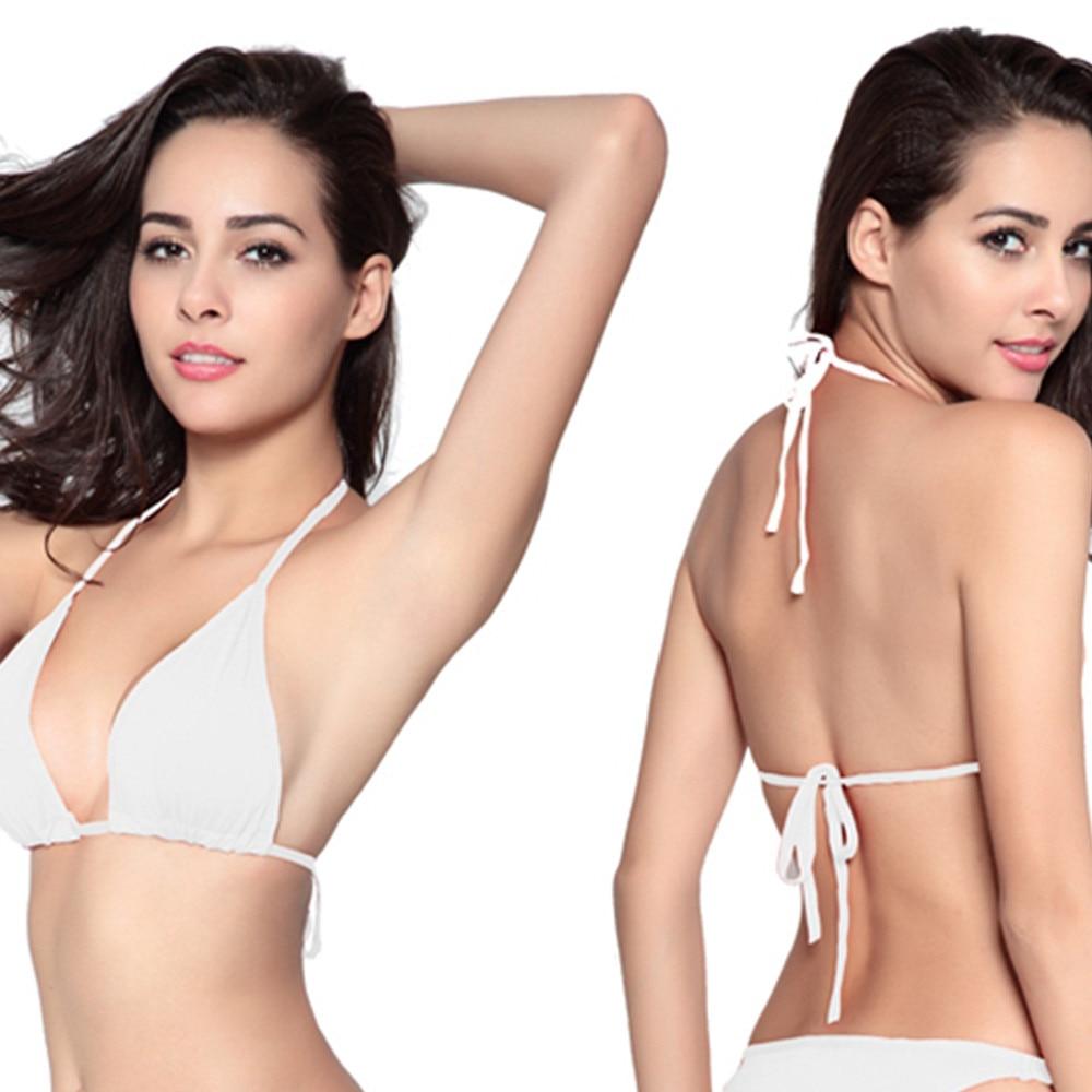 Sexy Solid Color Black Bikini Strips Bandage Swim Ladies Female Swimwear Halter Neck Bandage Tie Up Beachwear Women Bikini Tops 2