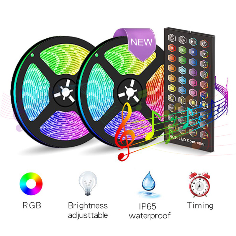 Economical LED Strip Lights Set Sync to Music Flexible RGB Remote Color Change Room Mood Lighting Bedroom ds99