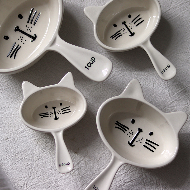 Cartoon Cat Ceramic Baking Measuring Spoons Kitchen Baking Supplies Dropshipping