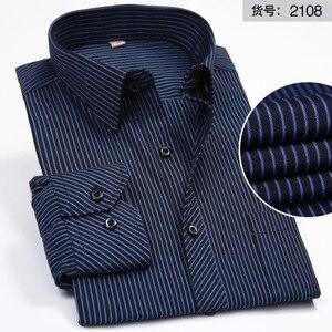 Image 5 - Artı boyutu 8XL erkekler gömlek uzun kollu katı çizgili gömlek erkekler elbise büyük 7XL 6XL beyaz sosyal gömlek erkek giyim streetwear