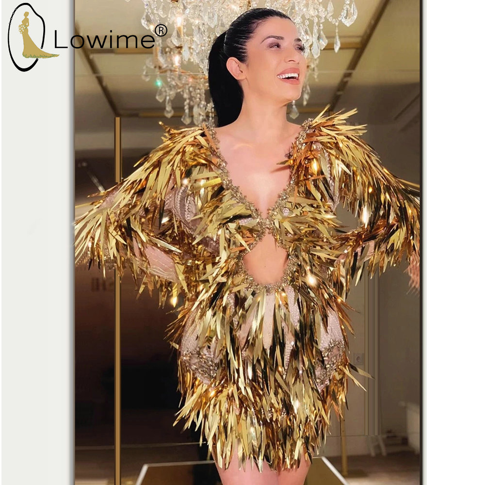 Sexy Backless Golden Short Prom Dresses Long Sleeve Mermaid Deep V Neck Saudi Arabia Dubai Prom Party Gowns Robe De Soiree