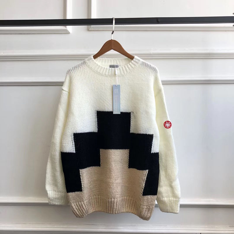 Best Version CAVEMPT Ziggurant Knit Sweaters Women Men Pullovers Cav Empt C.E Round Neck Men Geometry Printed Oversized Sweaters