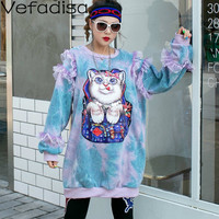 Vefadisa Autunn Cotton Casual Pullovers Sweatshirts Cat Sweatshirts Women Long Sleeve Cartoon O Neck Sweatshirts 2019 QYF390