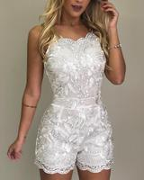 2019 Summer New Women Spaghetti Strap Lace Embroidery Rompers White Elegant Ladies Mesh Jacquard V Neck Casual Playsuit Hot
