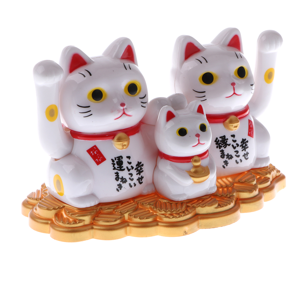 Solar Powered Bobbling Toy Waving Hand Fortune Cat Family Figures on Stage Gadget Toy Home/Car Ornament
