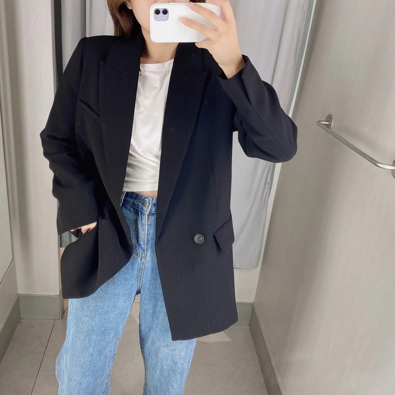 Temperament autumn women's suit jacket 2020 new black double-breasted mid-length ladies blazer Casual jacket