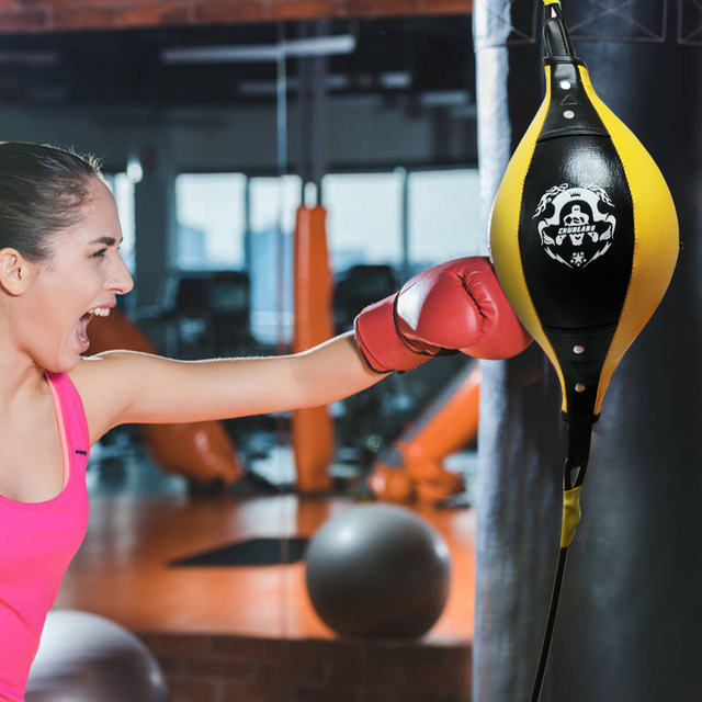 Double End Boxing Dodge Speed Ball PU Leather Inflatable Muay Thai MMA Training Floor to Ceiling Punching Bag Fitness Equipment 3