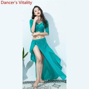 Image 2 - Hot Sales Vrouwen Team Top Sexy Split Rok 2 Stuk Buikdans Set Oosterse Indian Dancer Prestaties Tonen Kleding Podium dragen