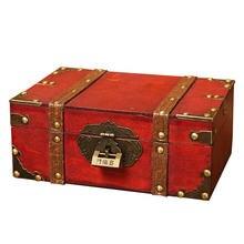 Деревянная коробка органайзер в стиле ретро с замком